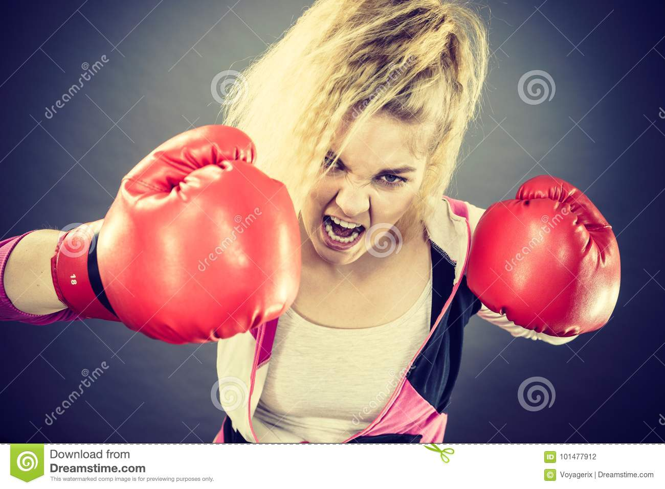 image Female boxer gets mad and spank the reporters