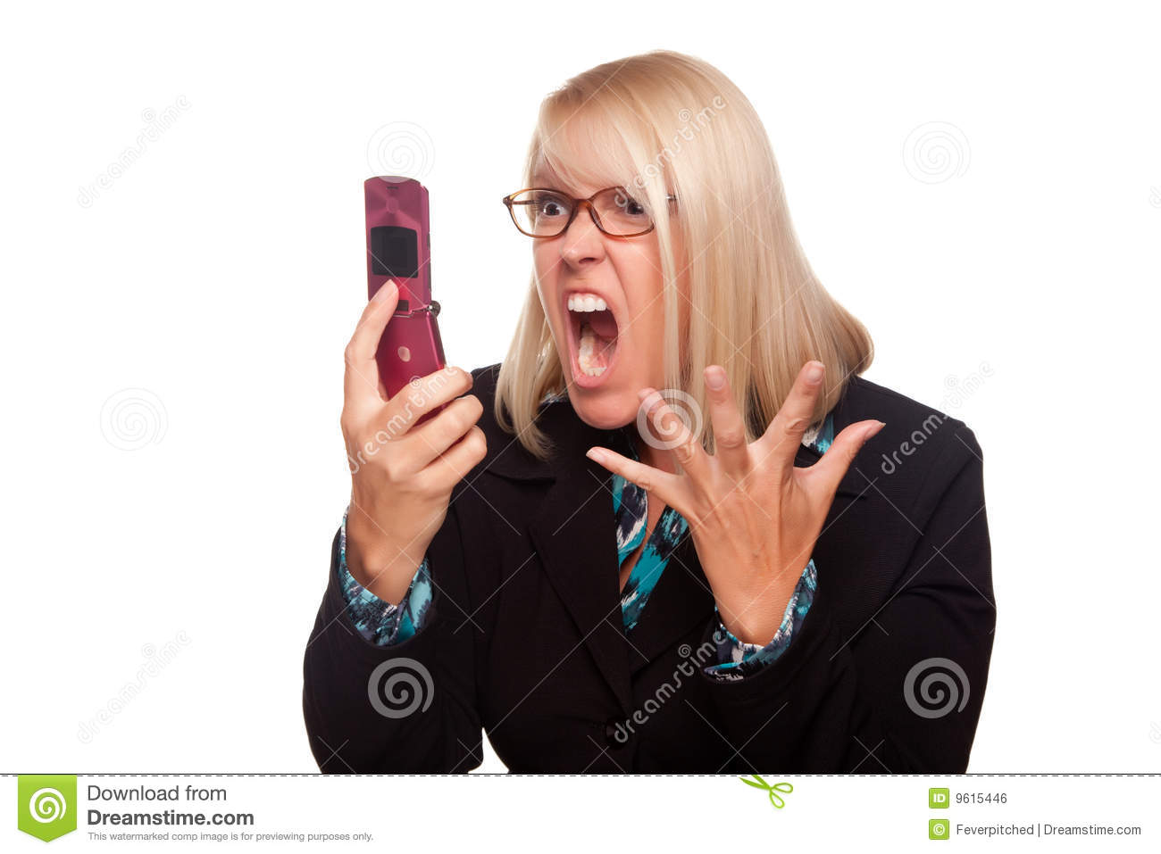Angry Woman Yells At Cell Phone Royalty Free Stock Image - Image ...