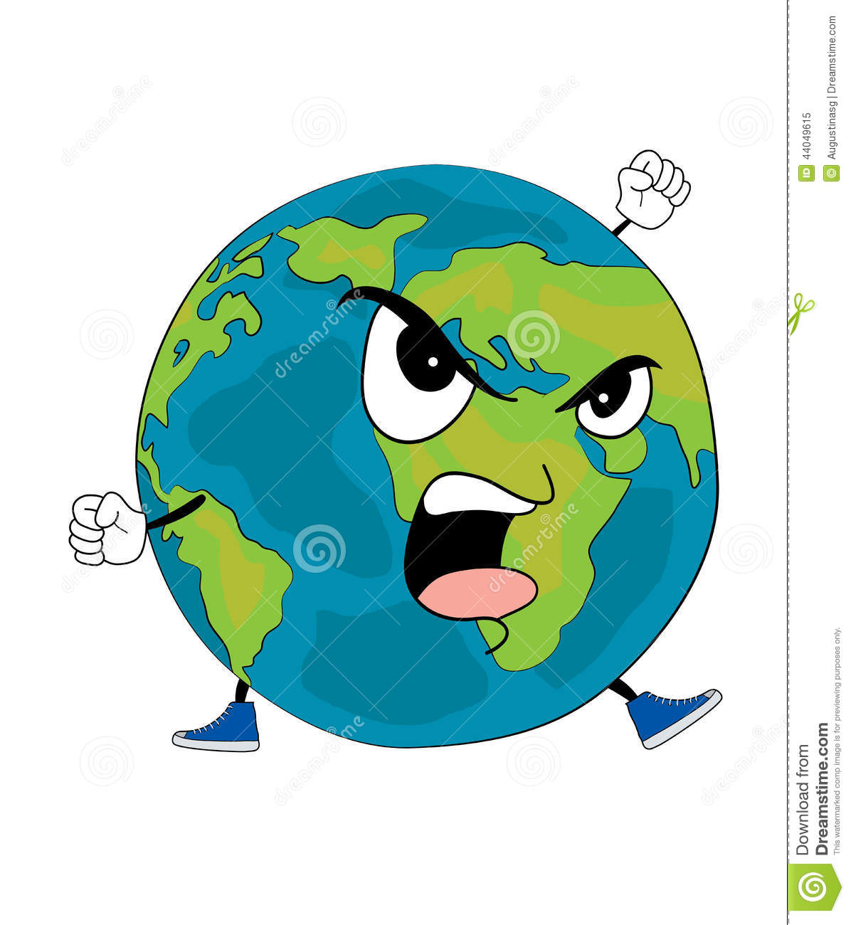 Angry World Globe Cartoon Stock Illustration - Image: 44049615