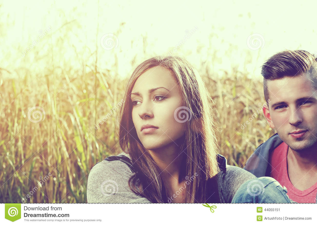 Angry young couple partnership problem outdoor