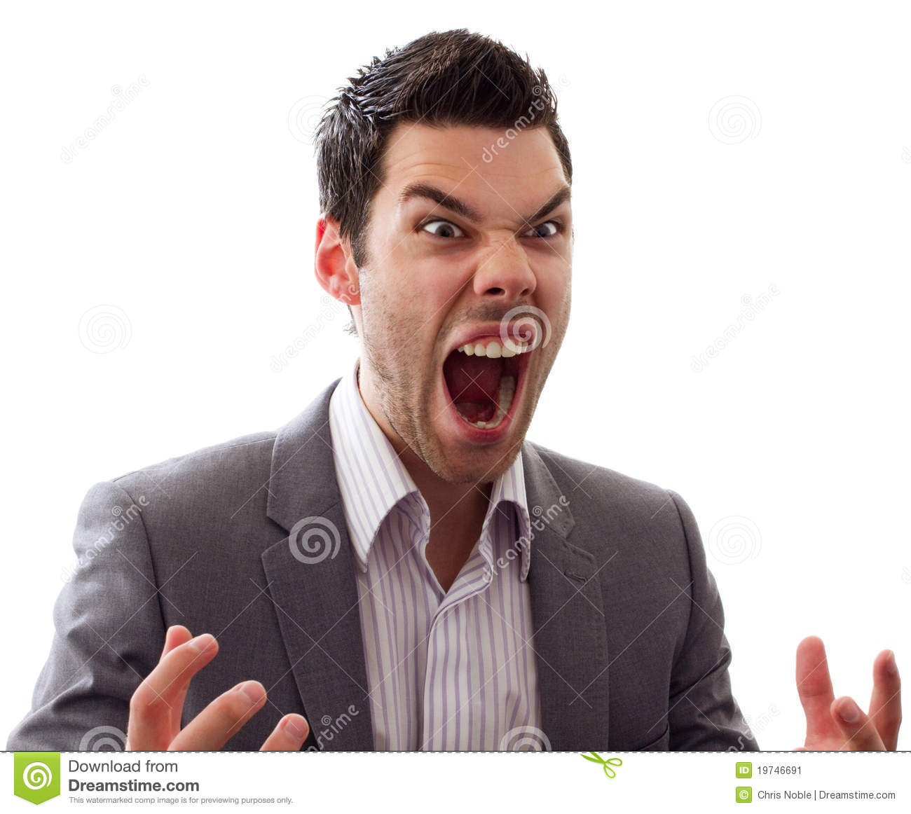 Angry young man screaming stock image. Image of short ...