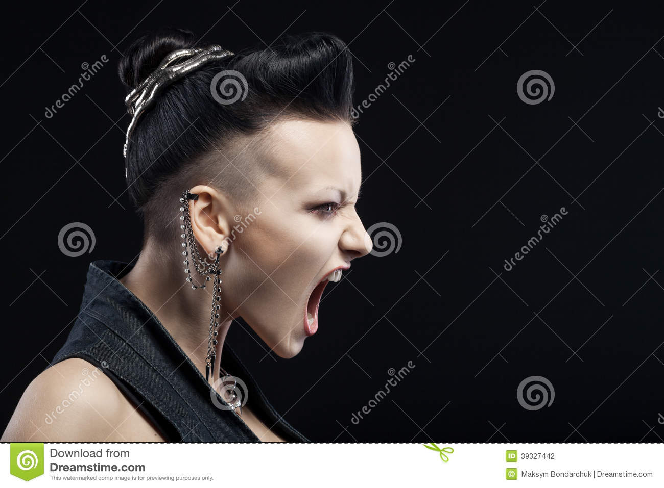 Angry Young Woman Screaming Isolated On Black Background ...