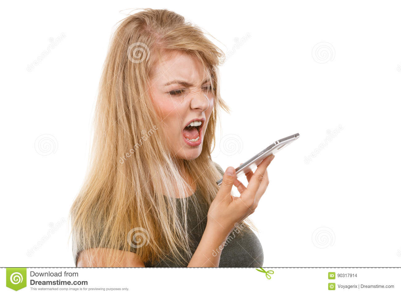 Download Angry Young Woman Talking On Phone Stock Photo - Image of suspicious, woman: 90317914