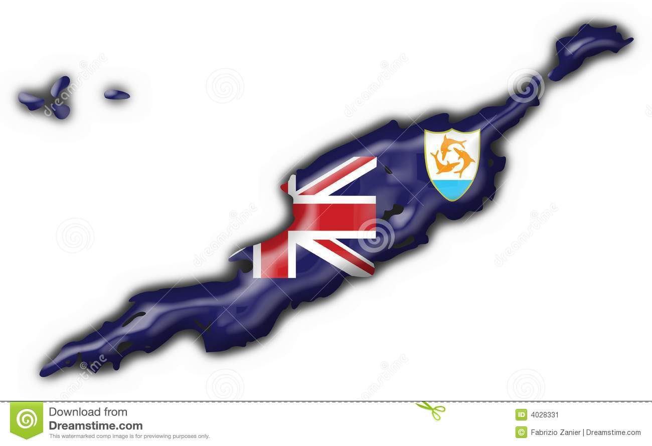 Anguilla Button Map Heart Shape Stock Image Image 4028331