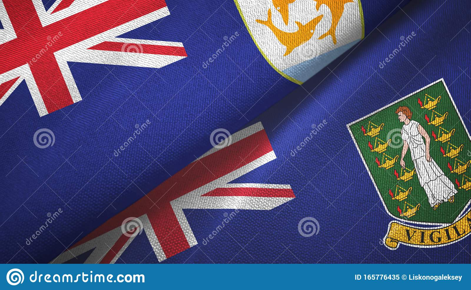 Anguilla And Virgin Islands British Two Flags Textile ...