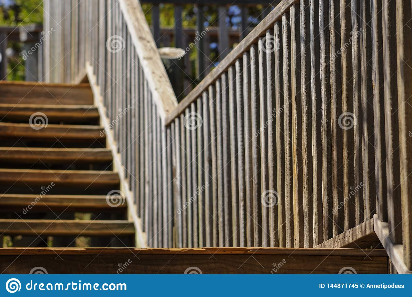 Wooden Staircase, Descending Towards The Viewer, With