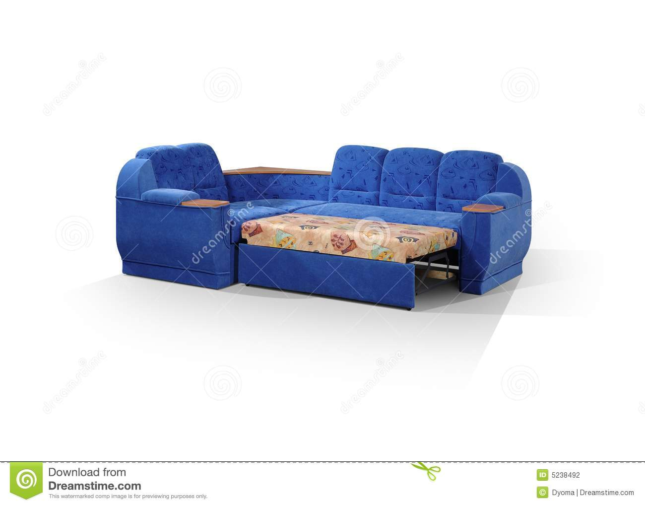 Angular Sofa Of Dark Blue Color Stock Photo Image 5238492