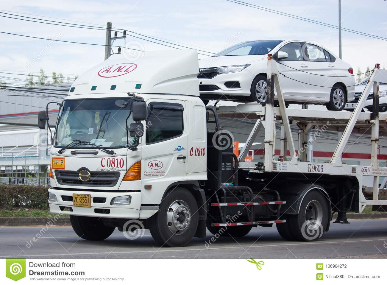 Ani Logistics Group Carrier Trailer Truck For Honda Car Editorial
