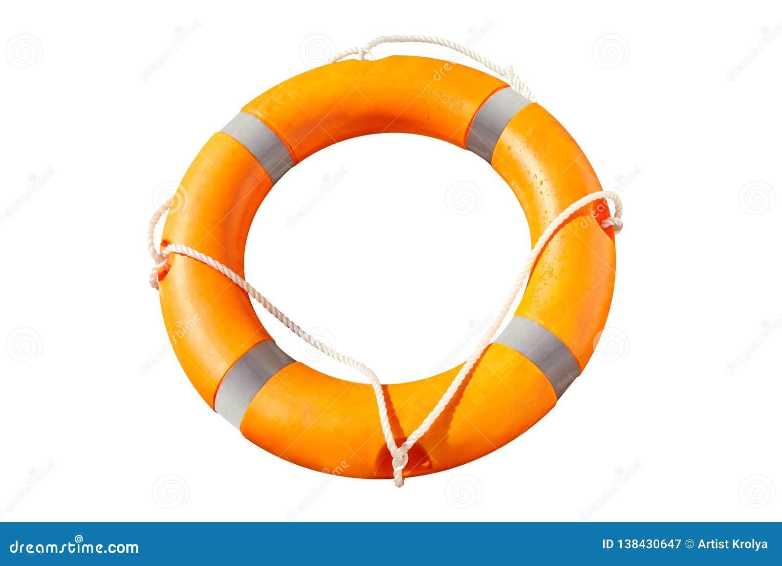 Anillo anaranjado del salvavidas con las líneas de vida