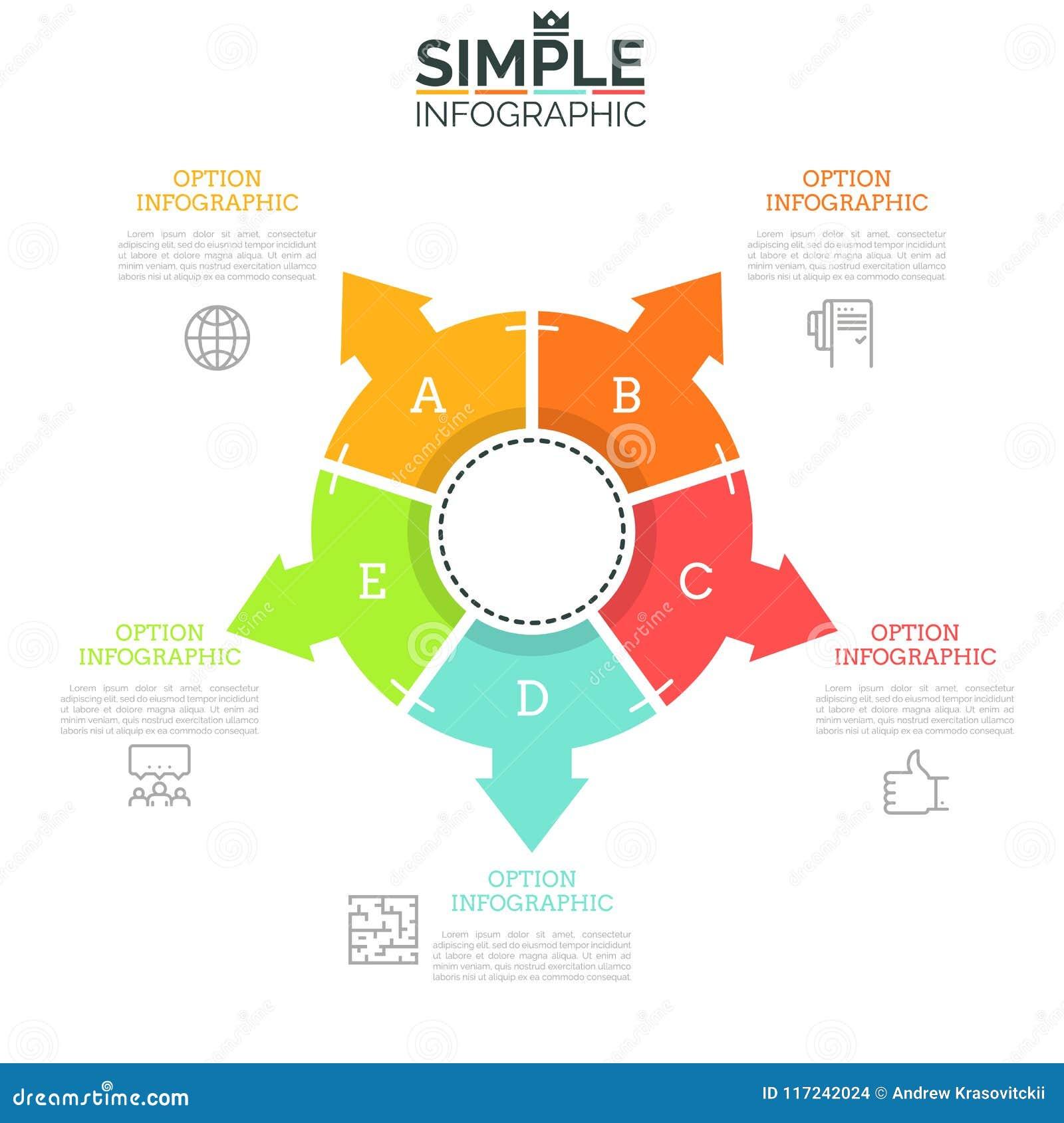 Anillo-como El Diagrama Dividido En 5 Sectores Iguales Con Las ...