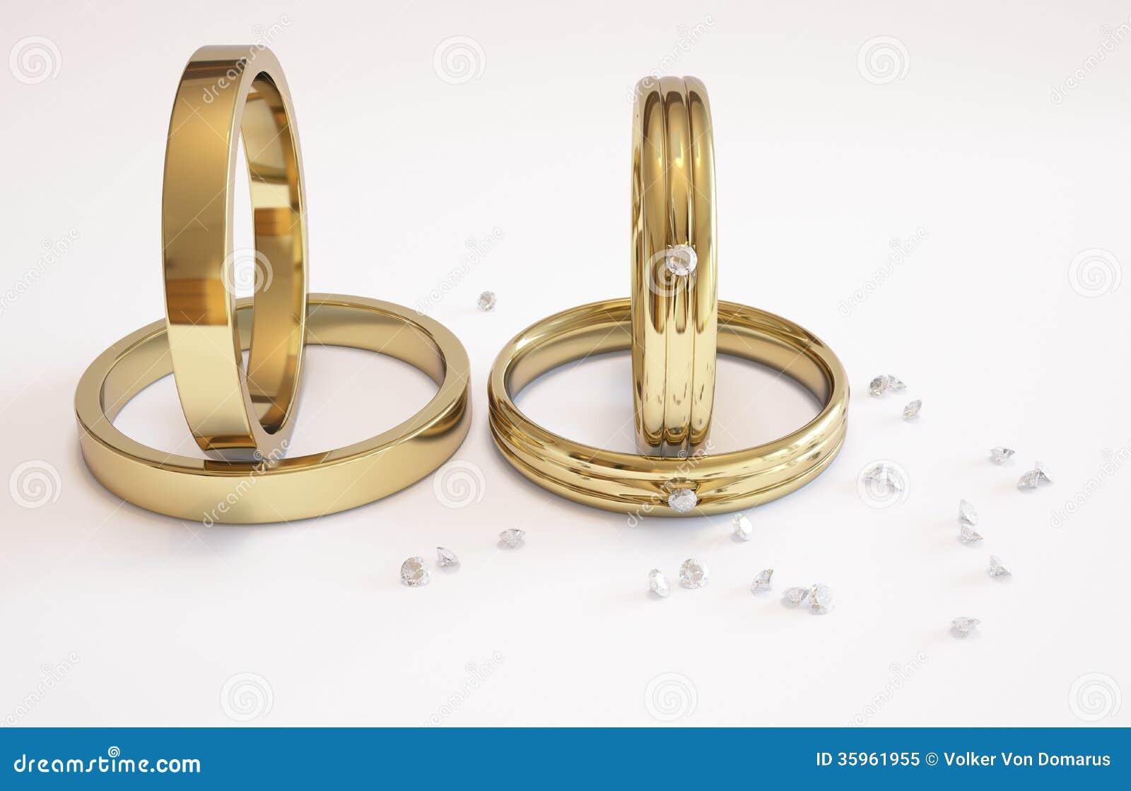 Anillo de bodas y diamantes de oro