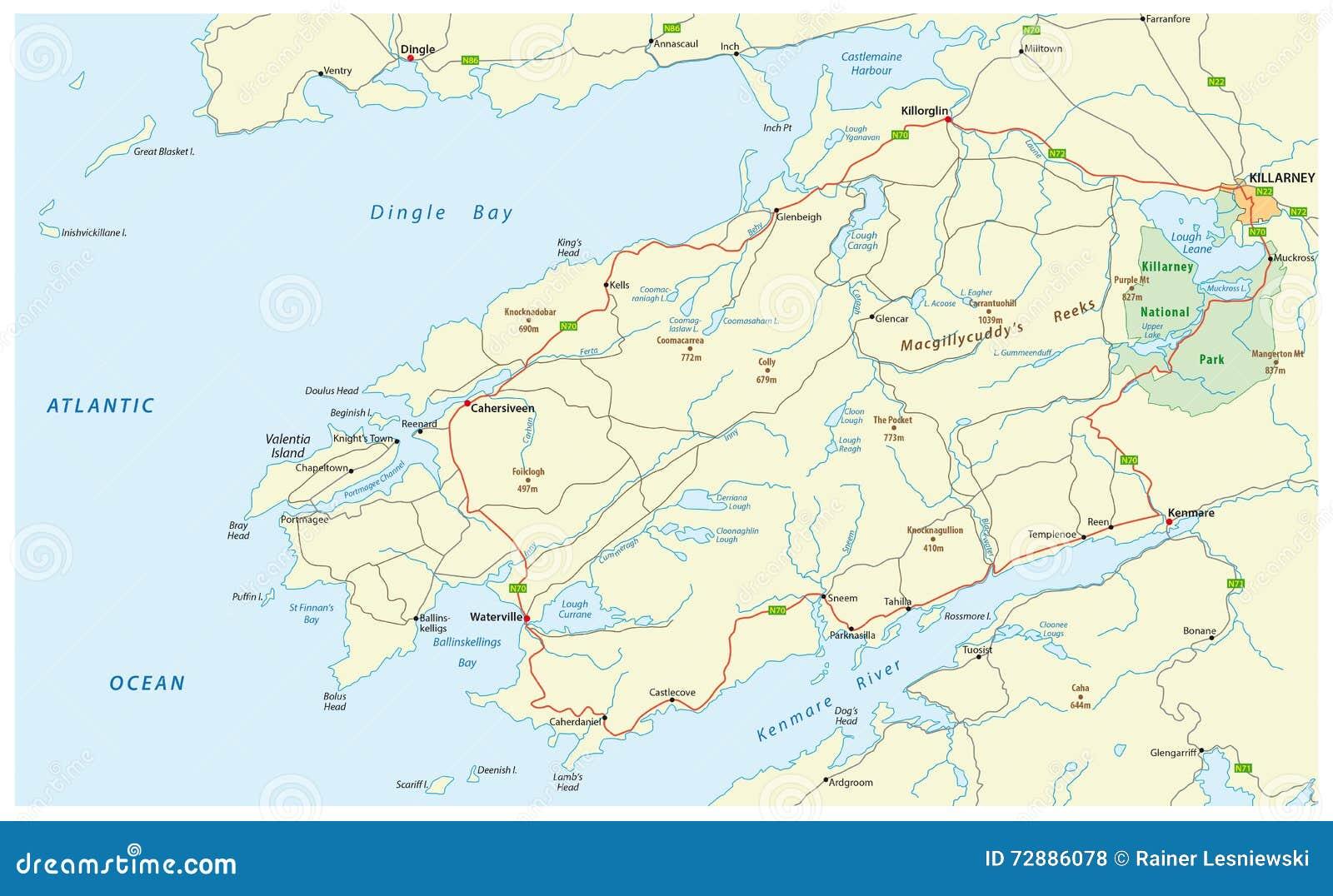 Anillo De Kerry Mapa.Anillo De Kerry Irlanda Del Mapa De Camino Stock De