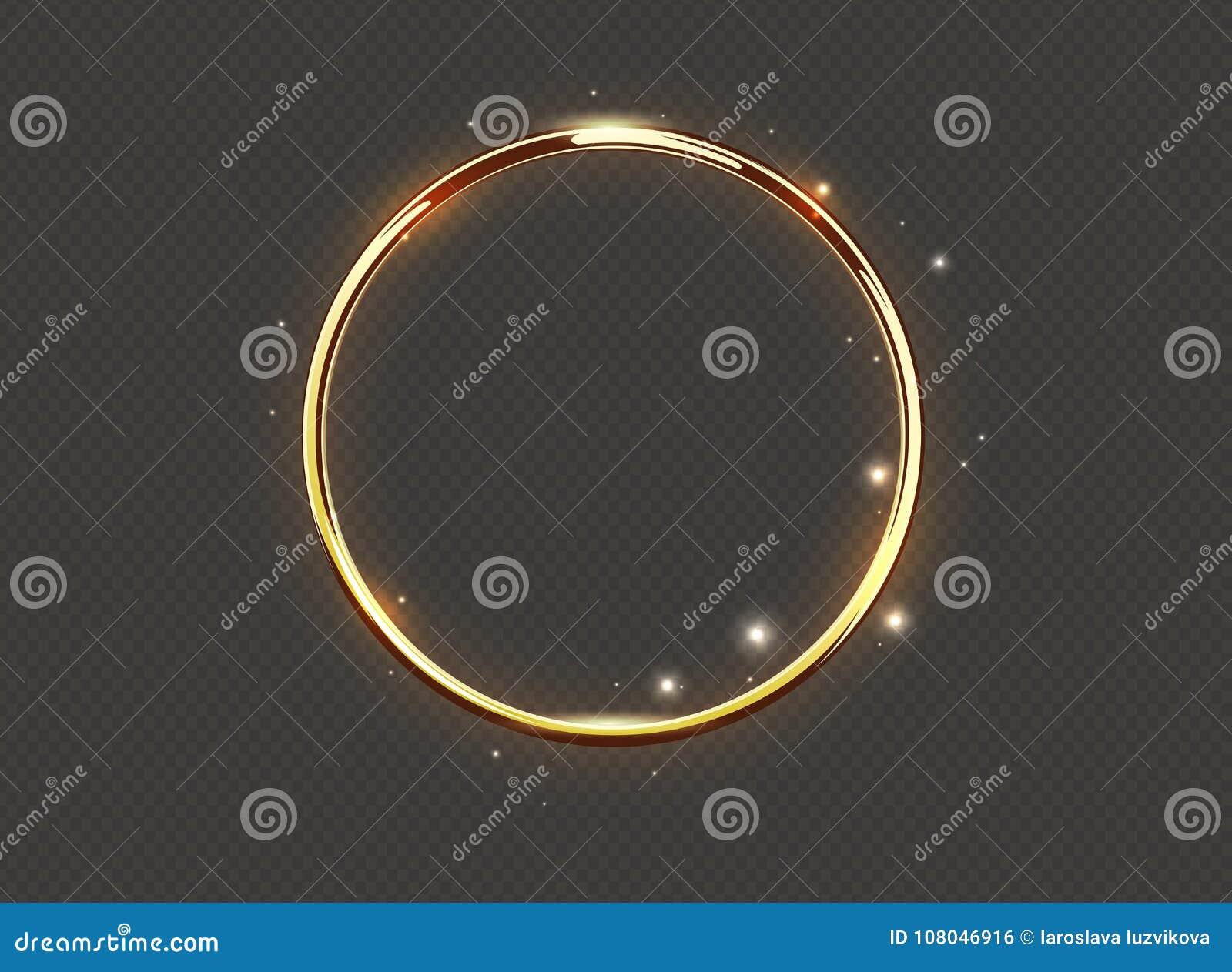 Anillo de lujo abstracto del resplandor de oro en fondo transparente Vector el proyector ligero de los círculos y el efecto lumin