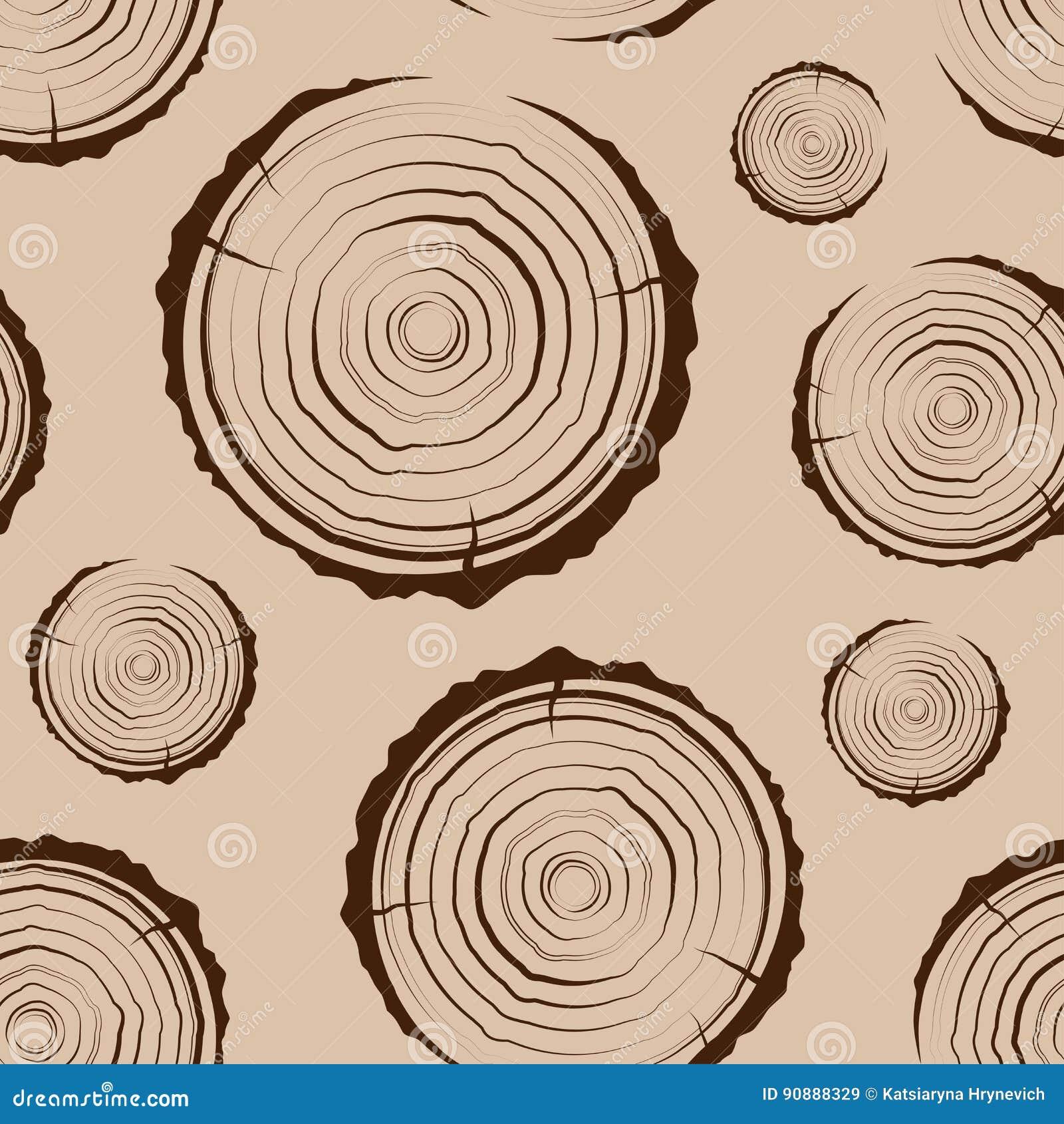 Anillos de árbol inconsútiles La sierra cortó el fondo del tronco de árbol Corte transversal del tronco con los anillos de árbol