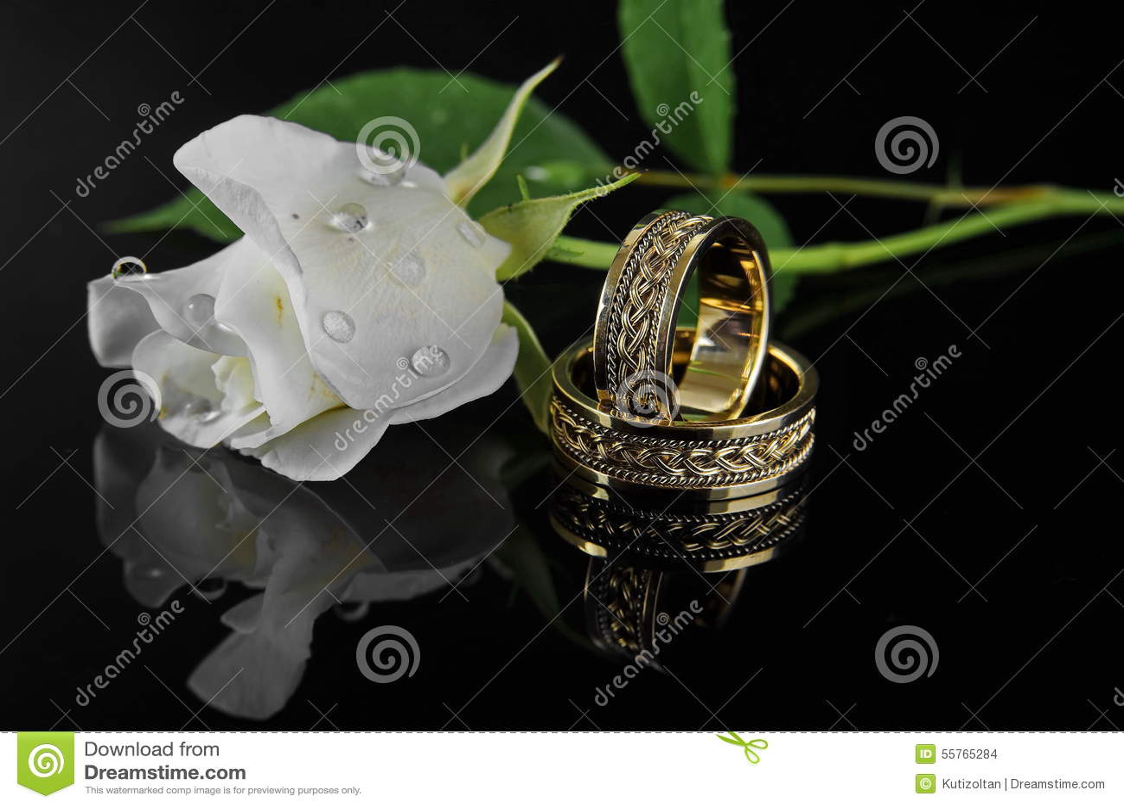 Anillos de bodas con la rosa del blanco