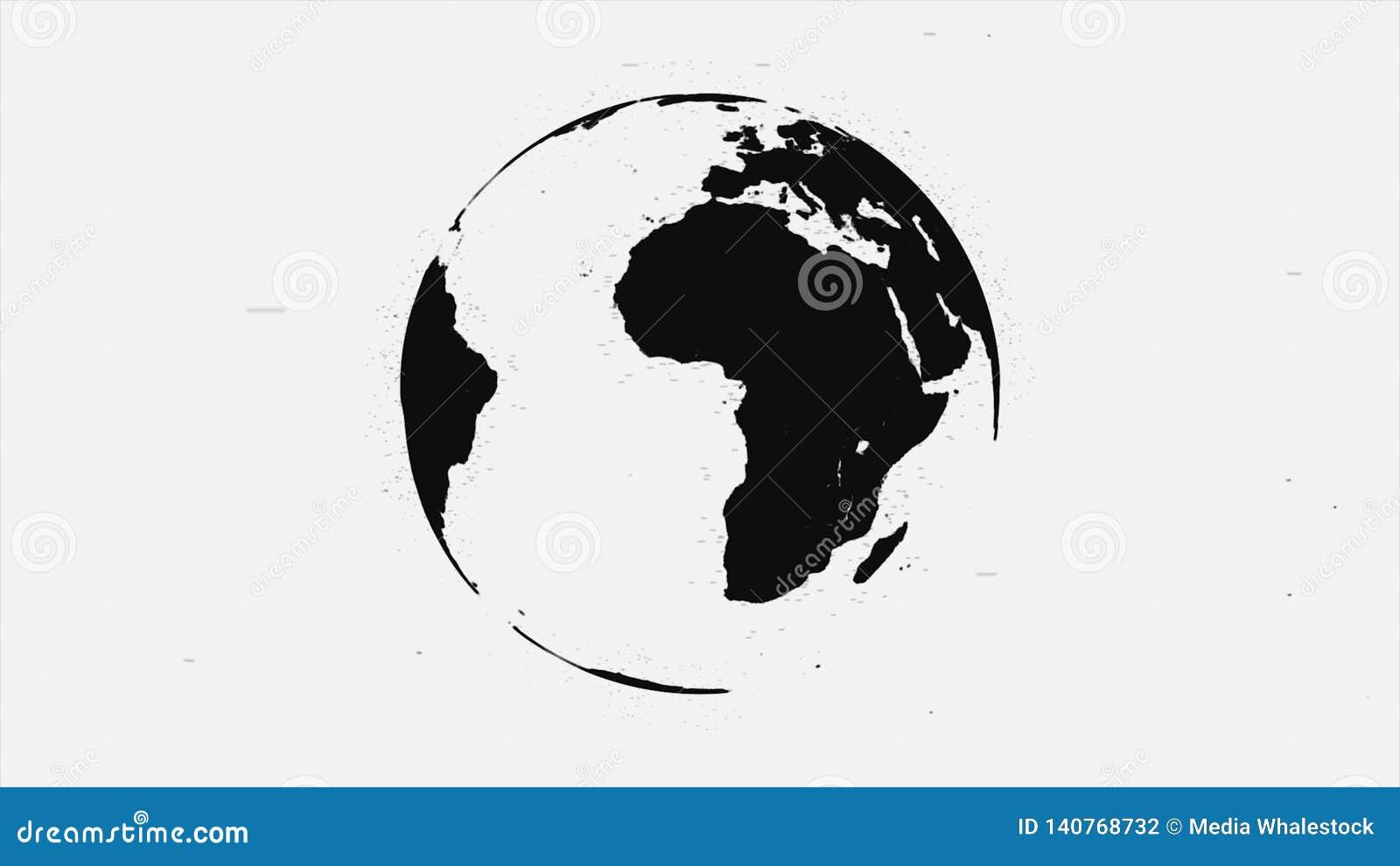 Animação abstrata de girar a terra preta do planeta no fundo branco Terra pintada do planeta com contornos pretos de