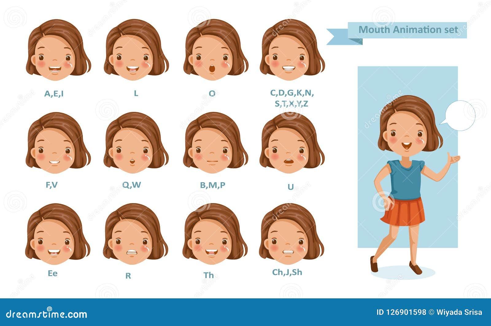 Animação da menina da boca