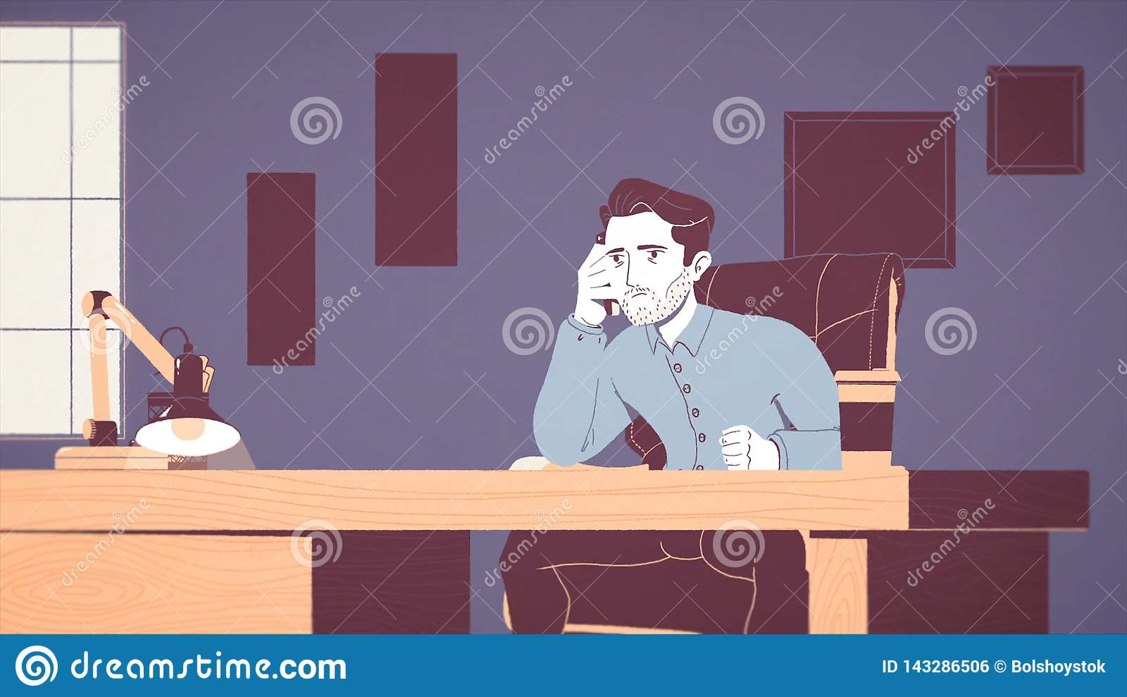 Animação de um homem de negócios cansado e forçado que trabalha em um local de trabalho no escritório Desenhos animados animados