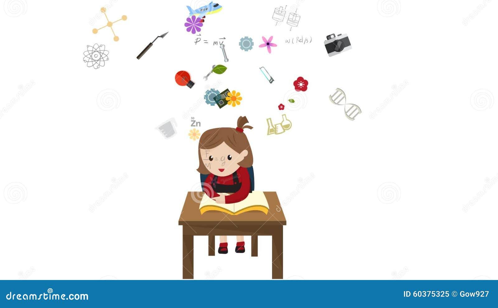 A Animacao Dos Desenhos Animados De Um Estudante Da Crianca Da