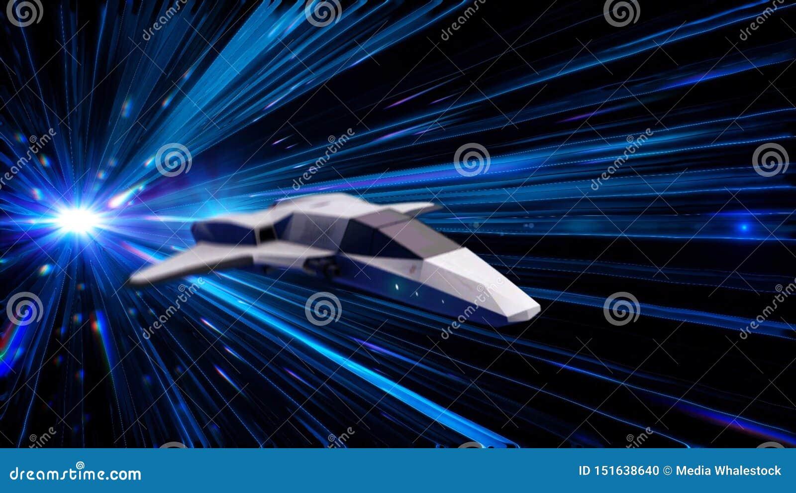 Animación abstracta hermosa de la nave espacial en el vuelo Hyperspace del salto a través del espacio exterior animaci?n animació