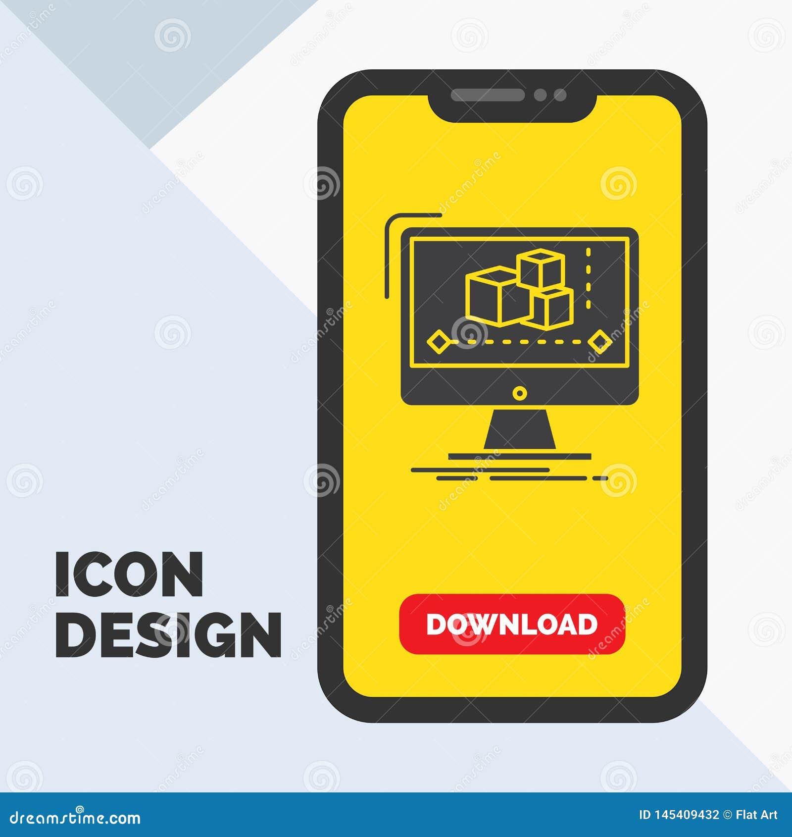 Animación, ordenador, redactor, monitor, icono del Glyph del software en el móvil para la página de la transferencia directa Fond