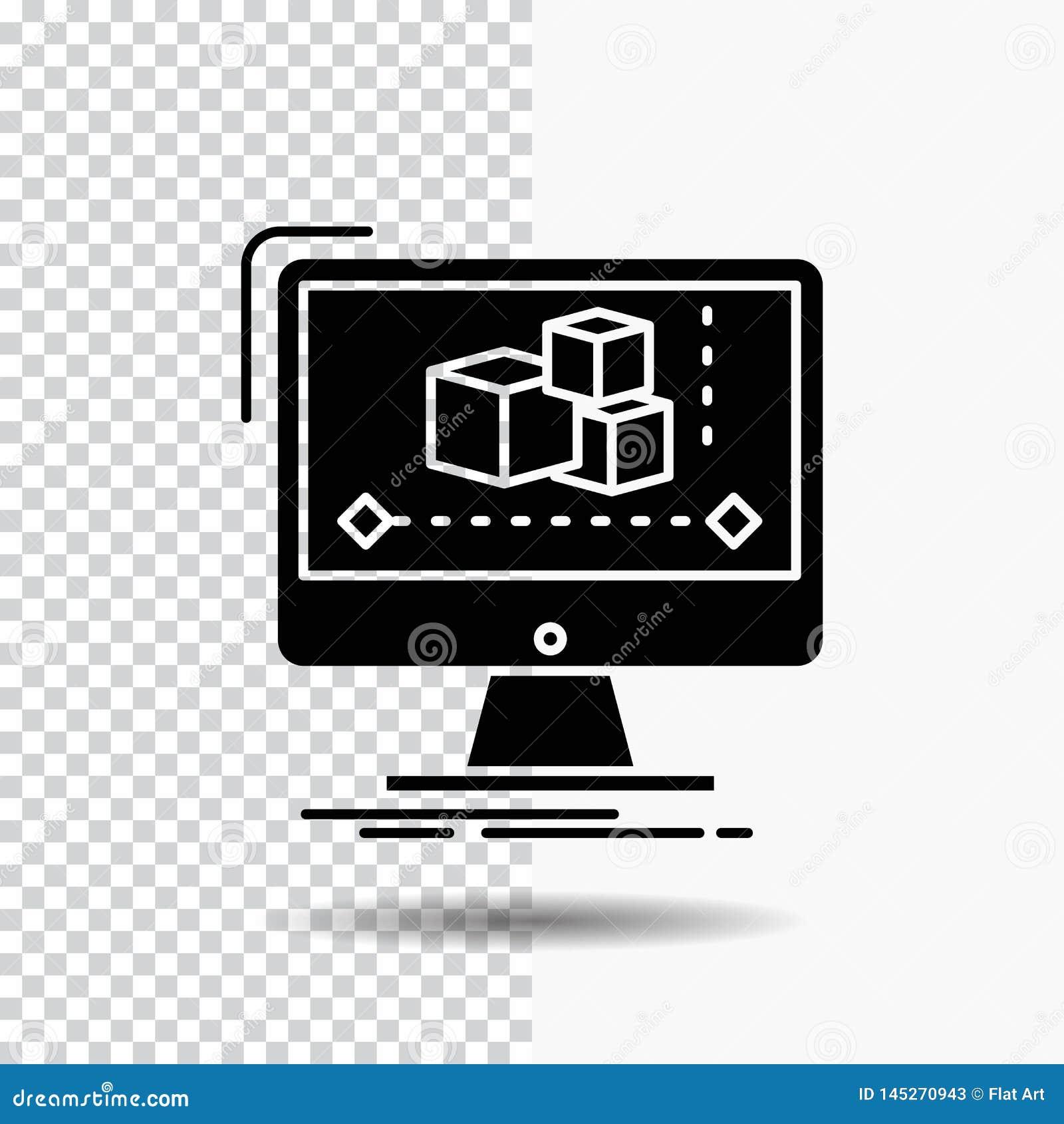 Animación, ordenador, redactor, monitor, icono del Glyph del software en fondo transparente Icono negro