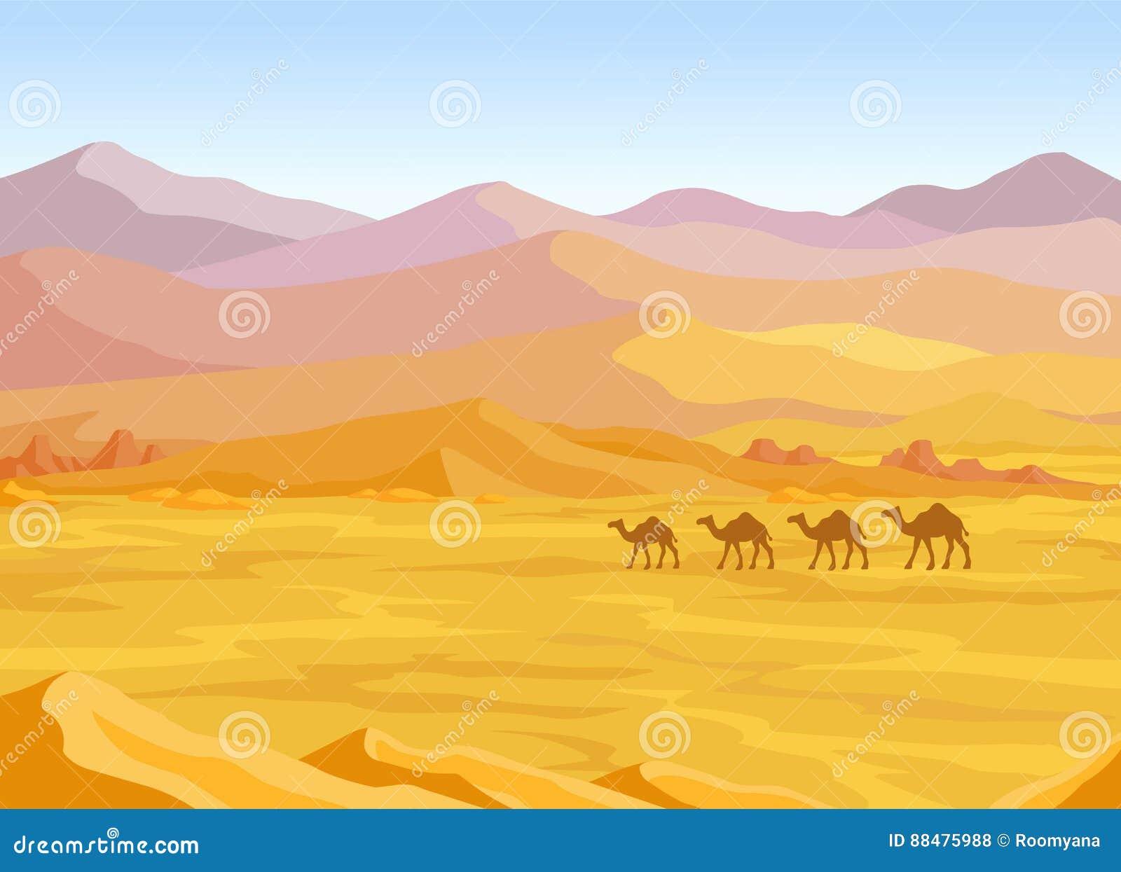 Animacja krajobraz: pustynia, karawana wielbłądy