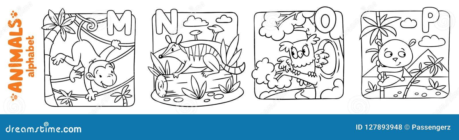 Animais Alfabeto Ou Abc Grupo Do Livro Para Colorir Ilustracao Do