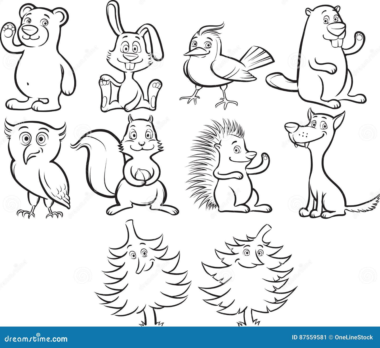 animais bonitos da floresta dos desenhos animados do livro para
