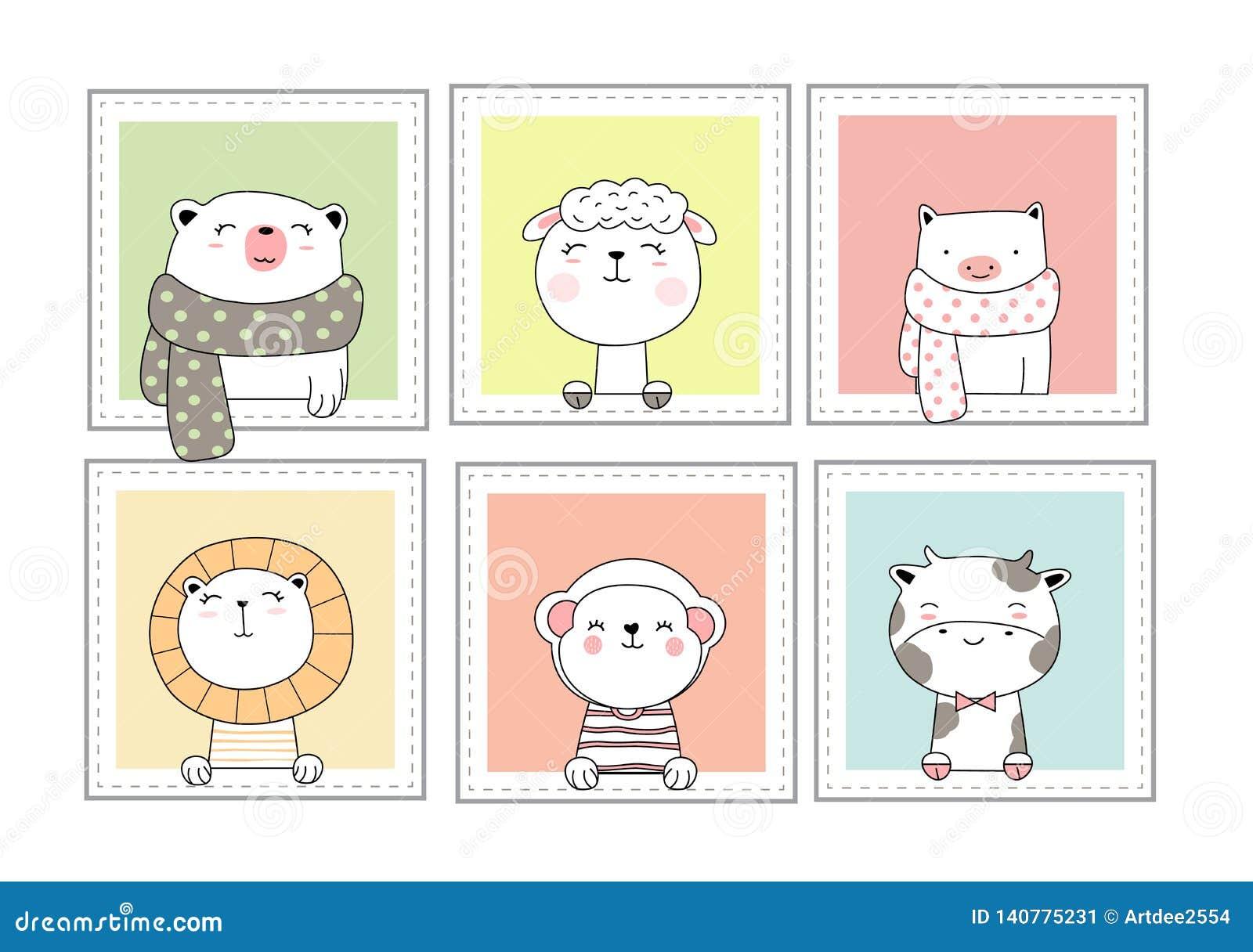 Animais Bonitos Do Bebe Com Estilo Tirado Mao Dos Desenhos
