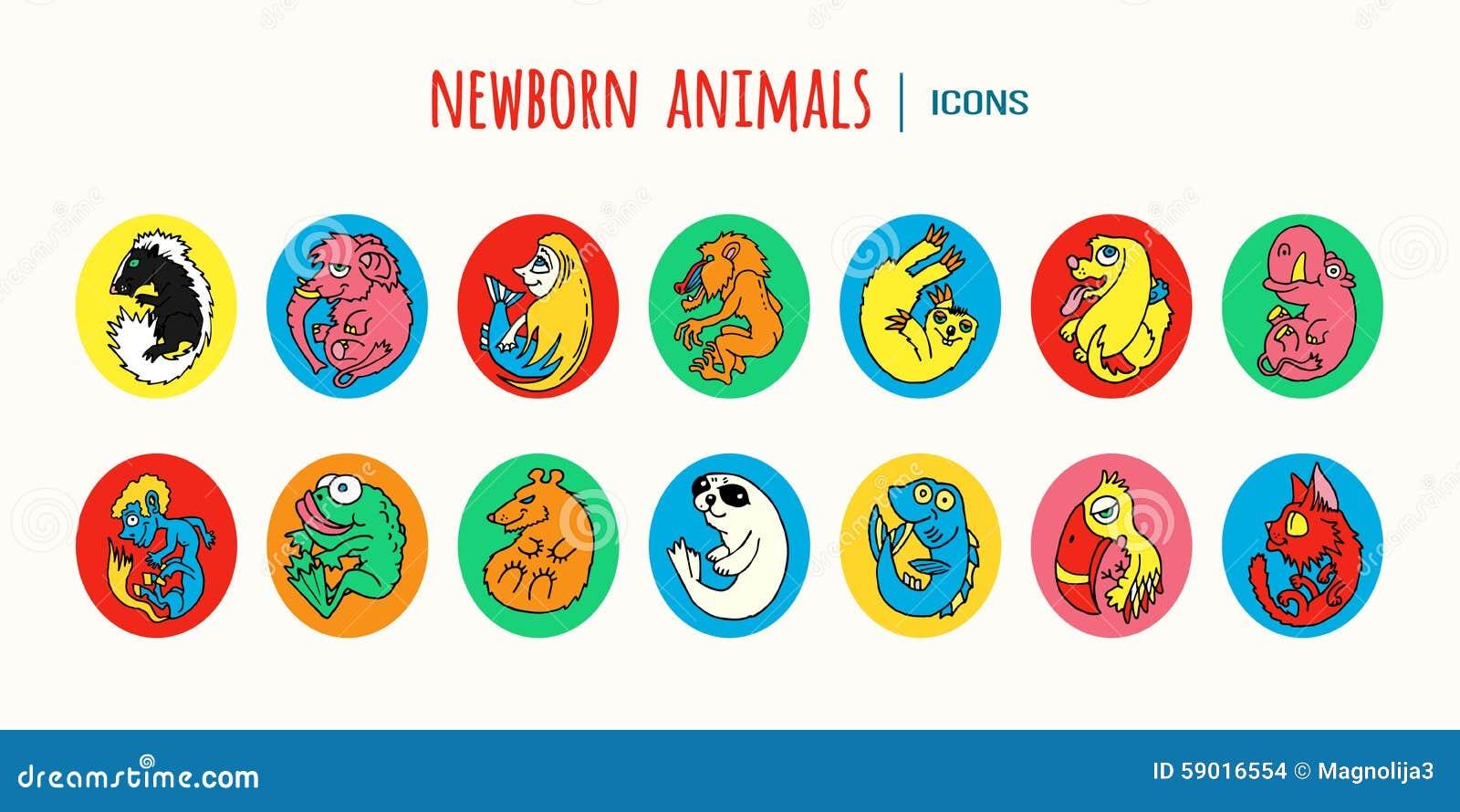 Zoológico De Animais Bebê Dos Desenhos Animados Vetor: Desenhos Animados Vetores Coloridos Animais Dos Animais