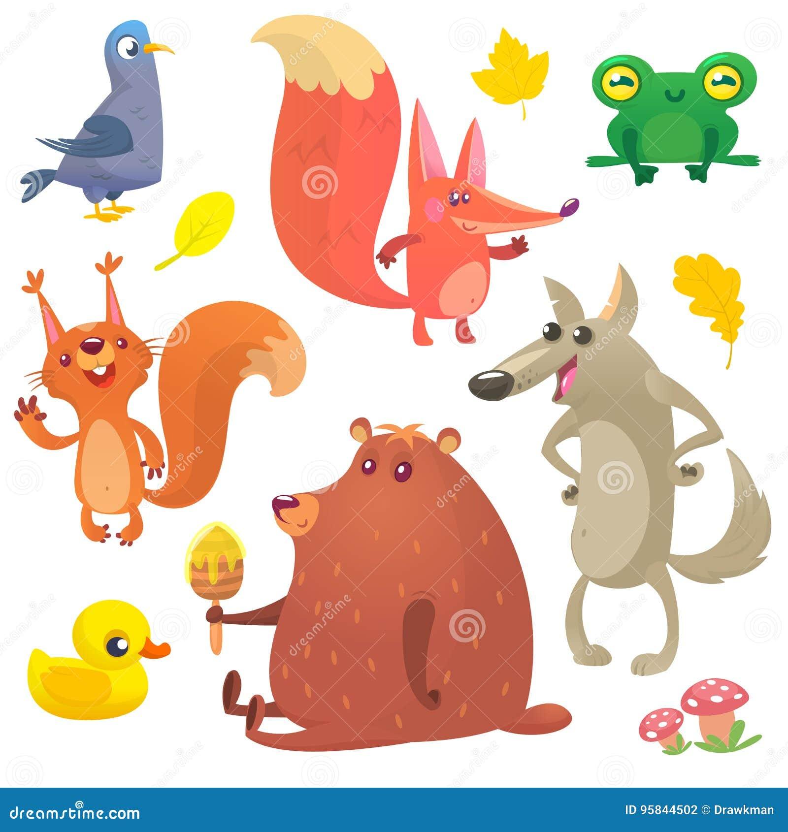 Animais da floresta dos desenhos animados ajustados Vector a ilustração do pombo, da raposa, da rã, do esquilo, do pato, do urso