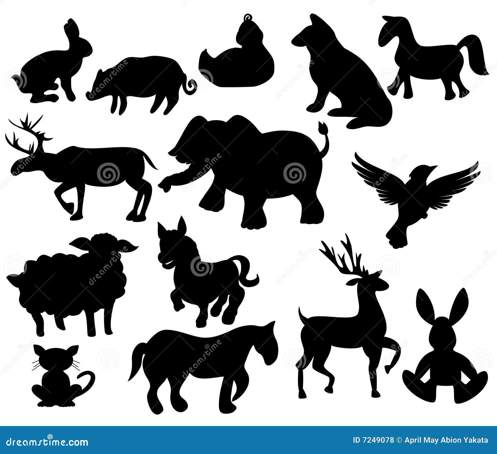 Animais de exploração agrícola da silhueta