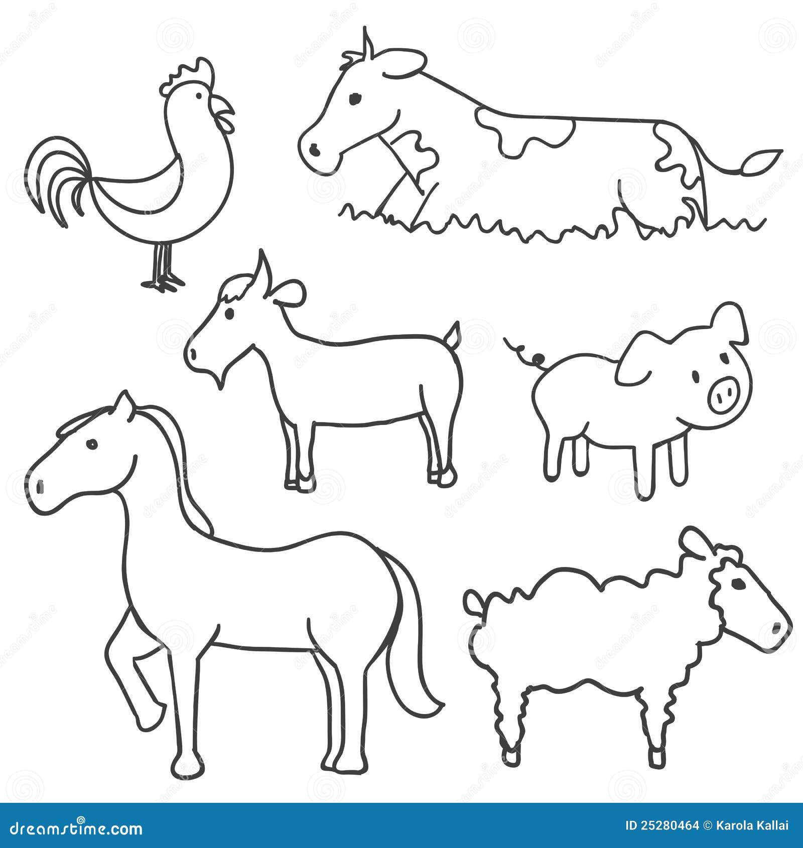 Clip Art Animals Black And White Farm Animal Art Black And