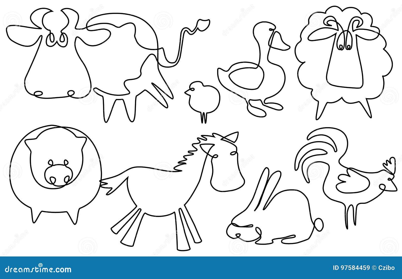 Animais De Exploração Agrícola Um A Lápis Desenho Ilustração