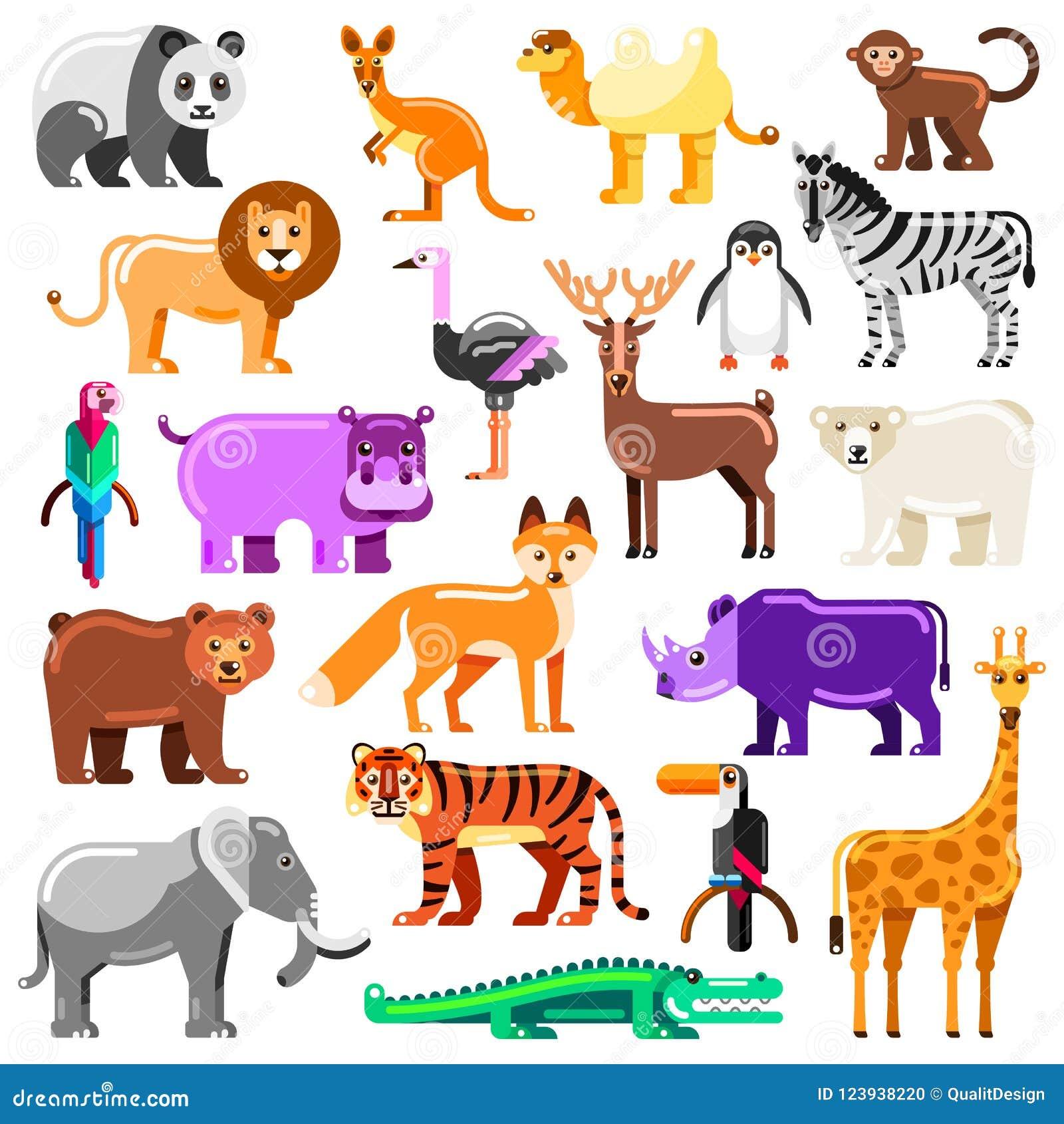 Animais do jardim zoológico ajustados Ilustração lisa do vetor Caráteres coloridos bonitos isolados no fundo branco
