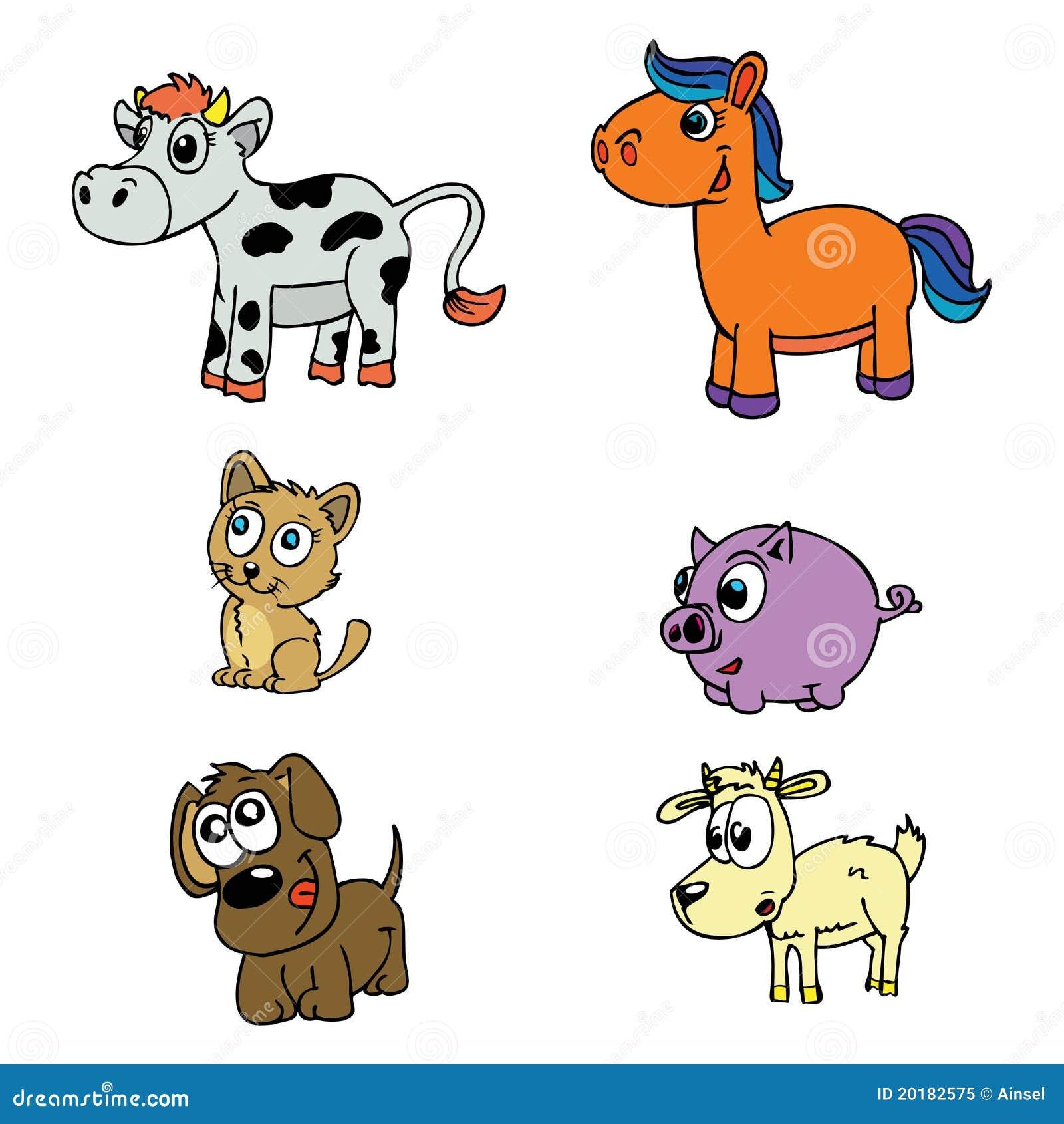 Animais Domesticos Bonitos Ajustados Ilustracao Do Vetor