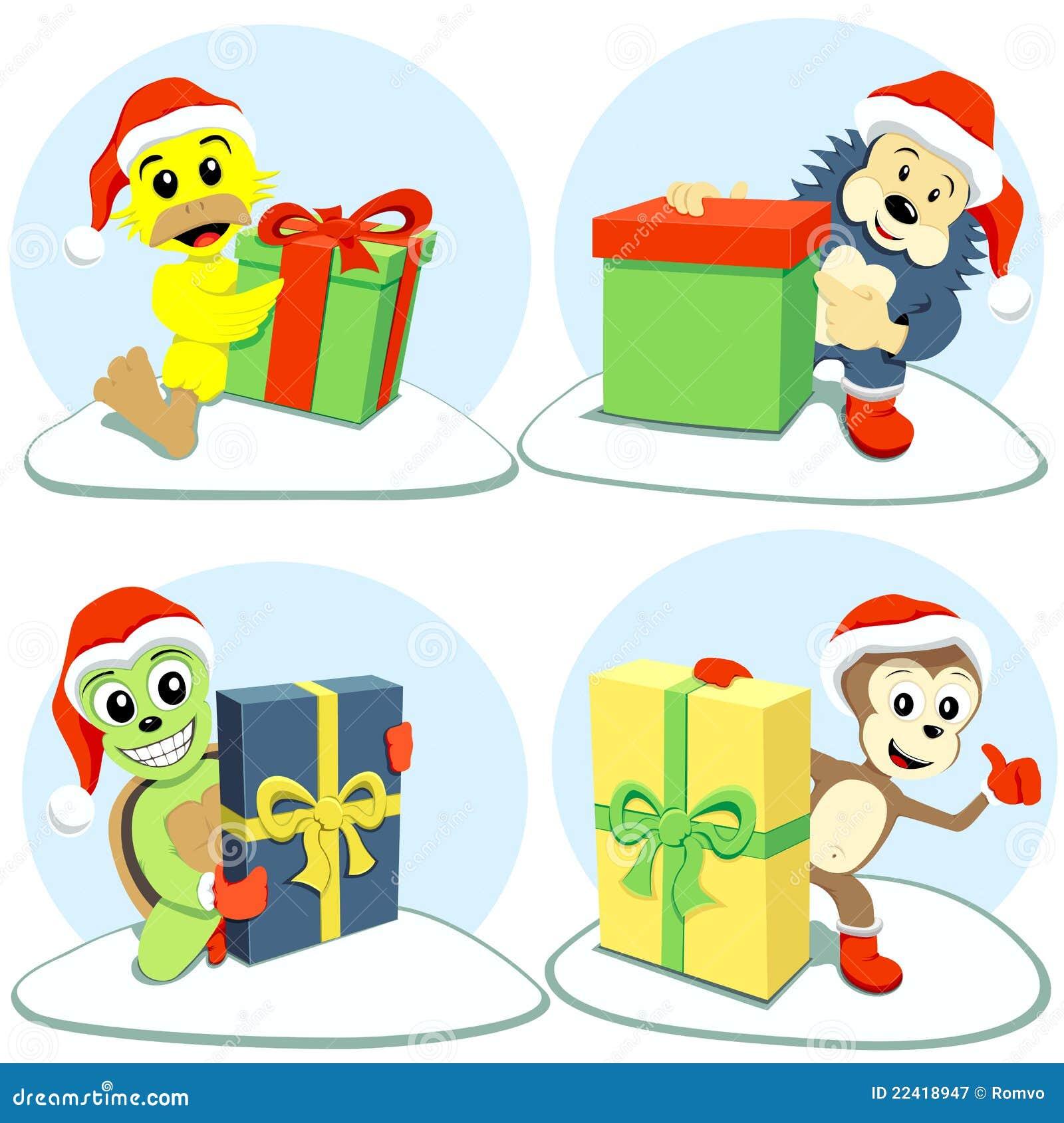 Animais Dos Desenhos Animados Do Feliz Natal Ilustracao Do Vetor