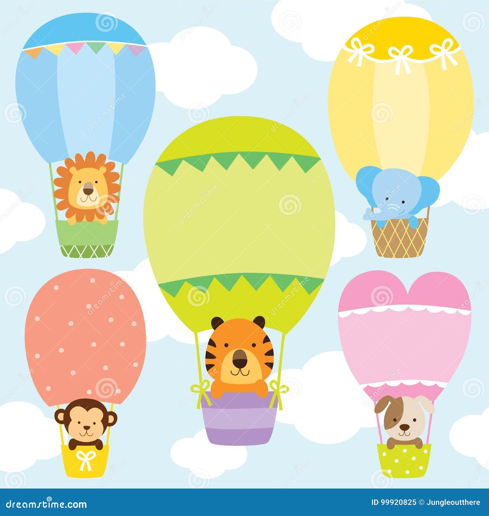Animais no grupo da ilustração do vetor dos balões de ar quente