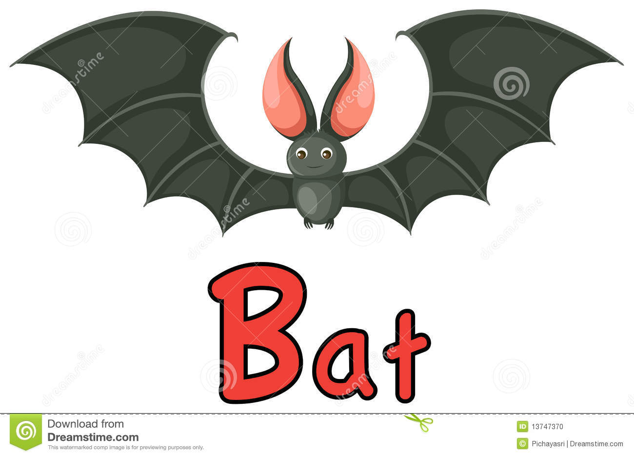Animal Alphabet B For Bat Stock Photo  Image: 13747370