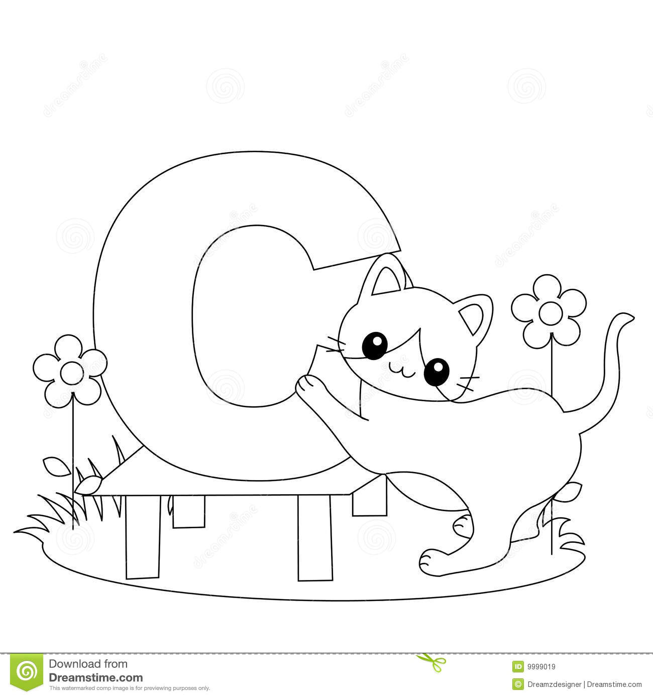 Coloring Pages Animals Letters : Animal alphabet c coloring page stock vector image