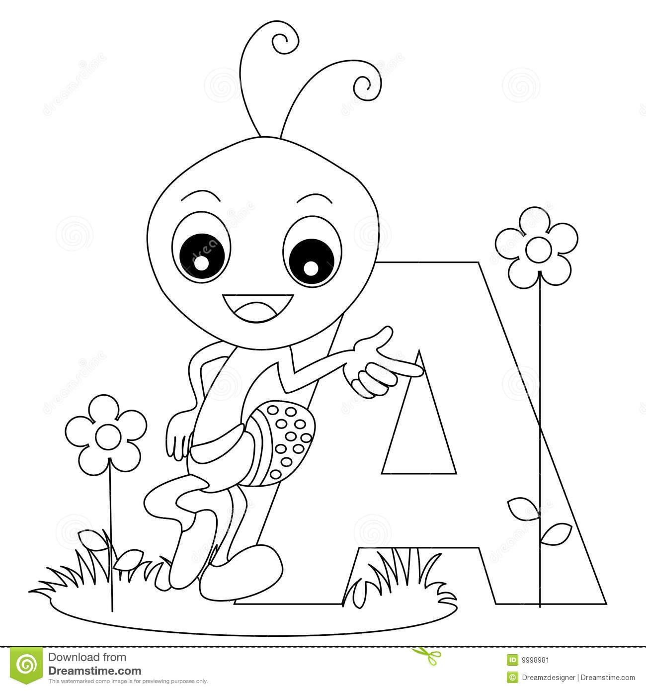 Animal Alphabet A Coloring Page Stock Image Image 9998981