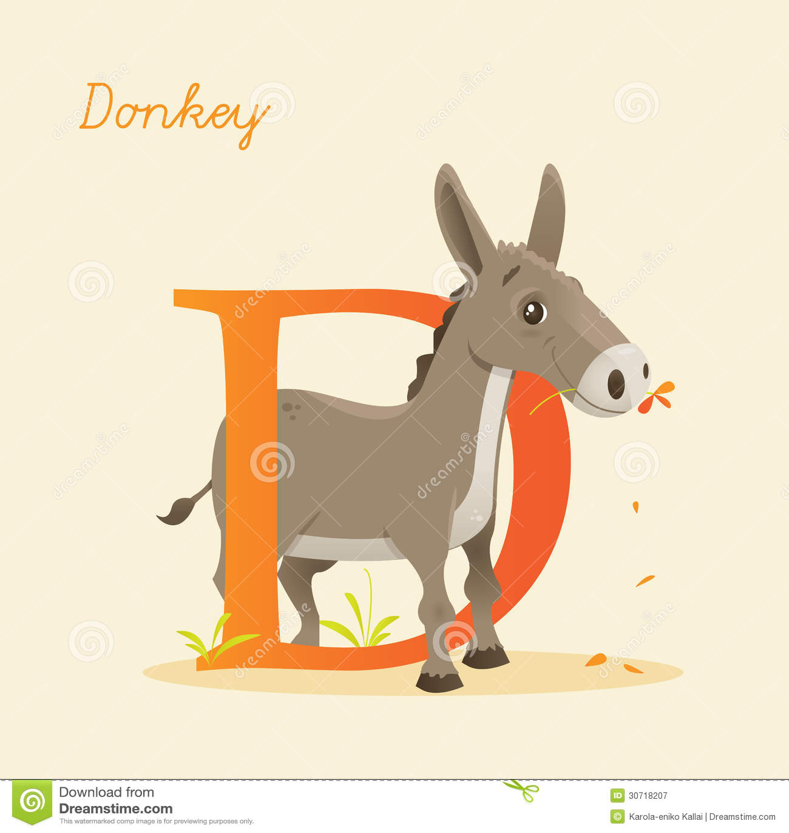 Animal Alphabet With Donkey Royalty Free Stock Photography - Image ...