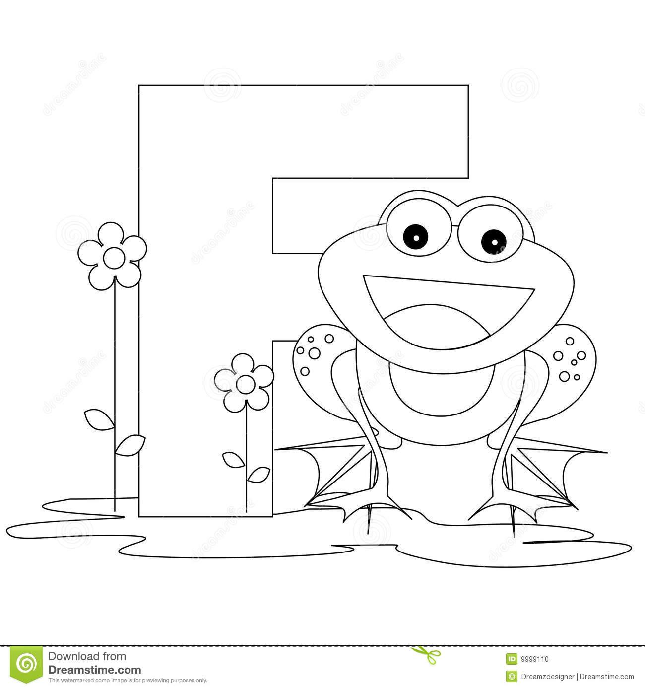animal alphabet f coloring page stock photo image 9999110