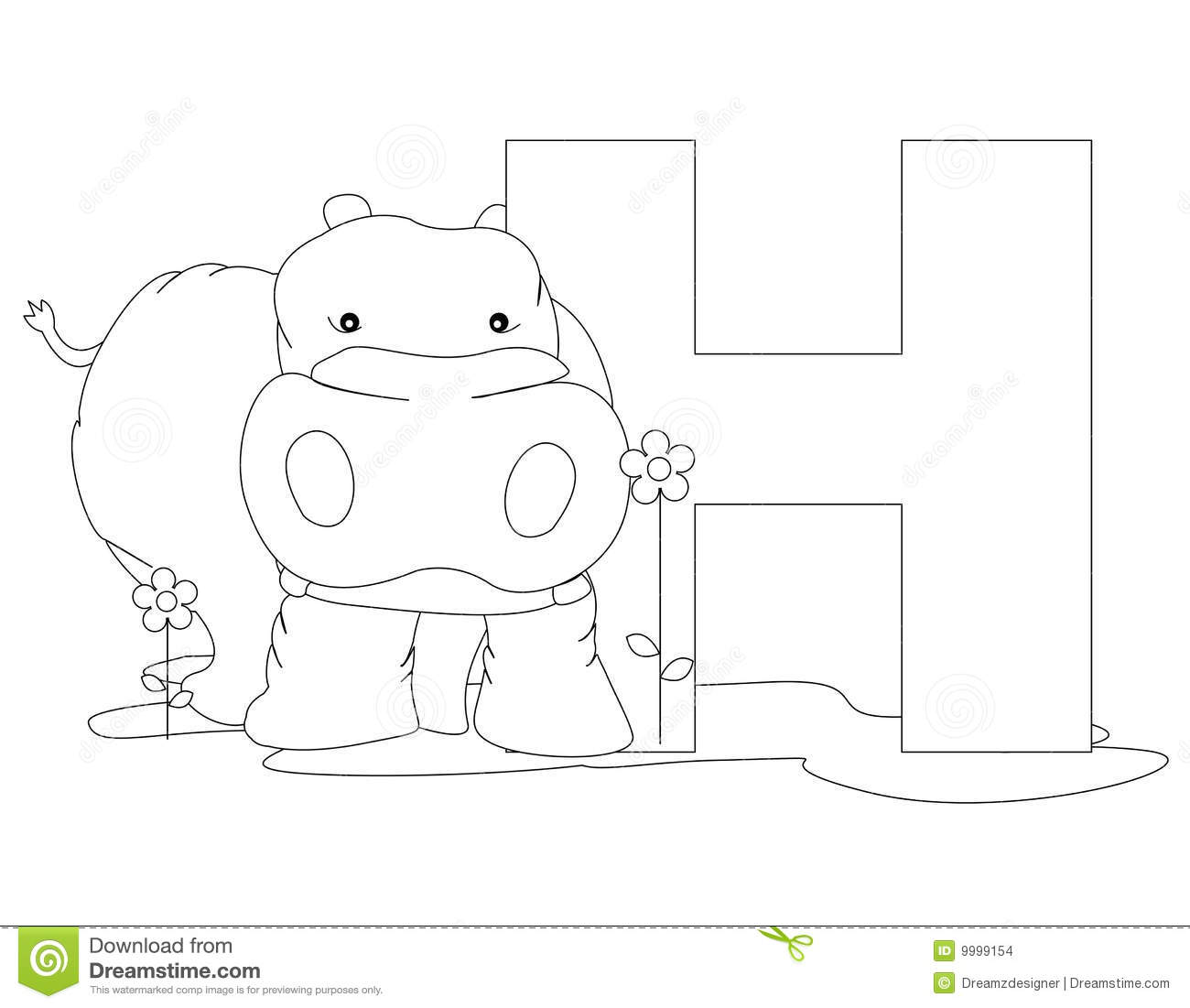 Alphabet pages for coloring book -  On White Background Coloring Book Page Graphic H Is For Hippo