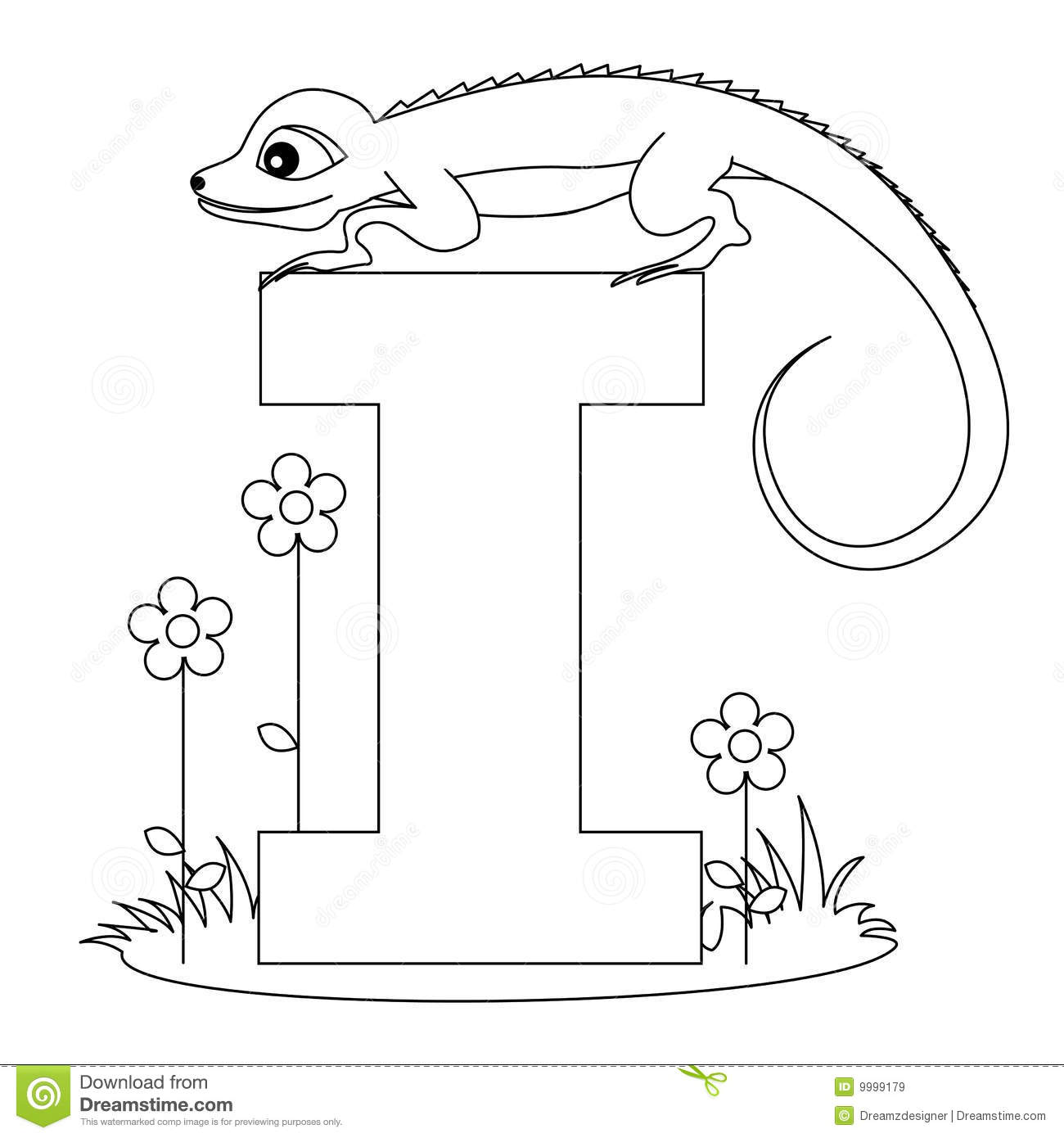 Animal Alphabet I Coloring Page Royalty Free Stock Images ...