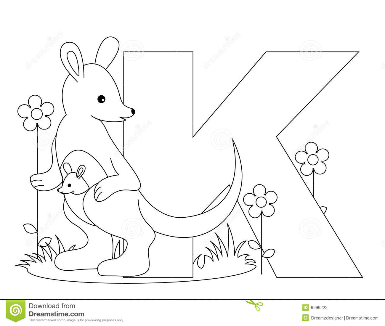 animal alphabet k coloring page stock photography image 9999222