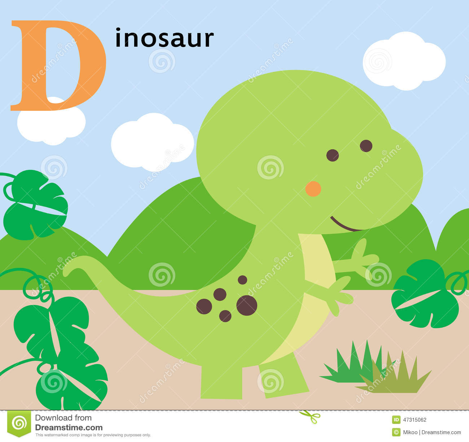 Animal Alphabet For The Kids: D For The Dinosaur Stock Vector ...
