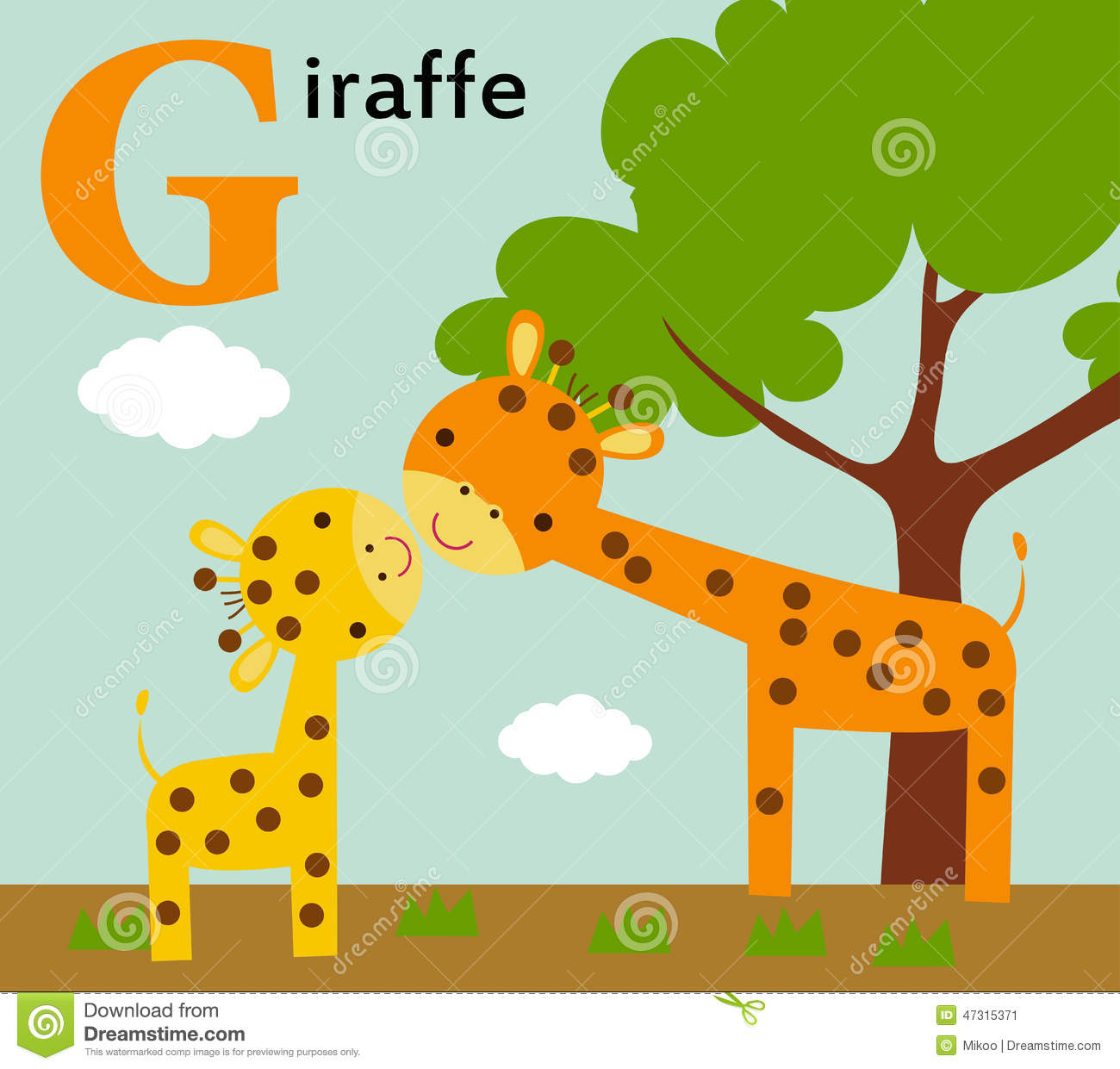 Animal Alphabet For The Kids G For The Giraffe Stock