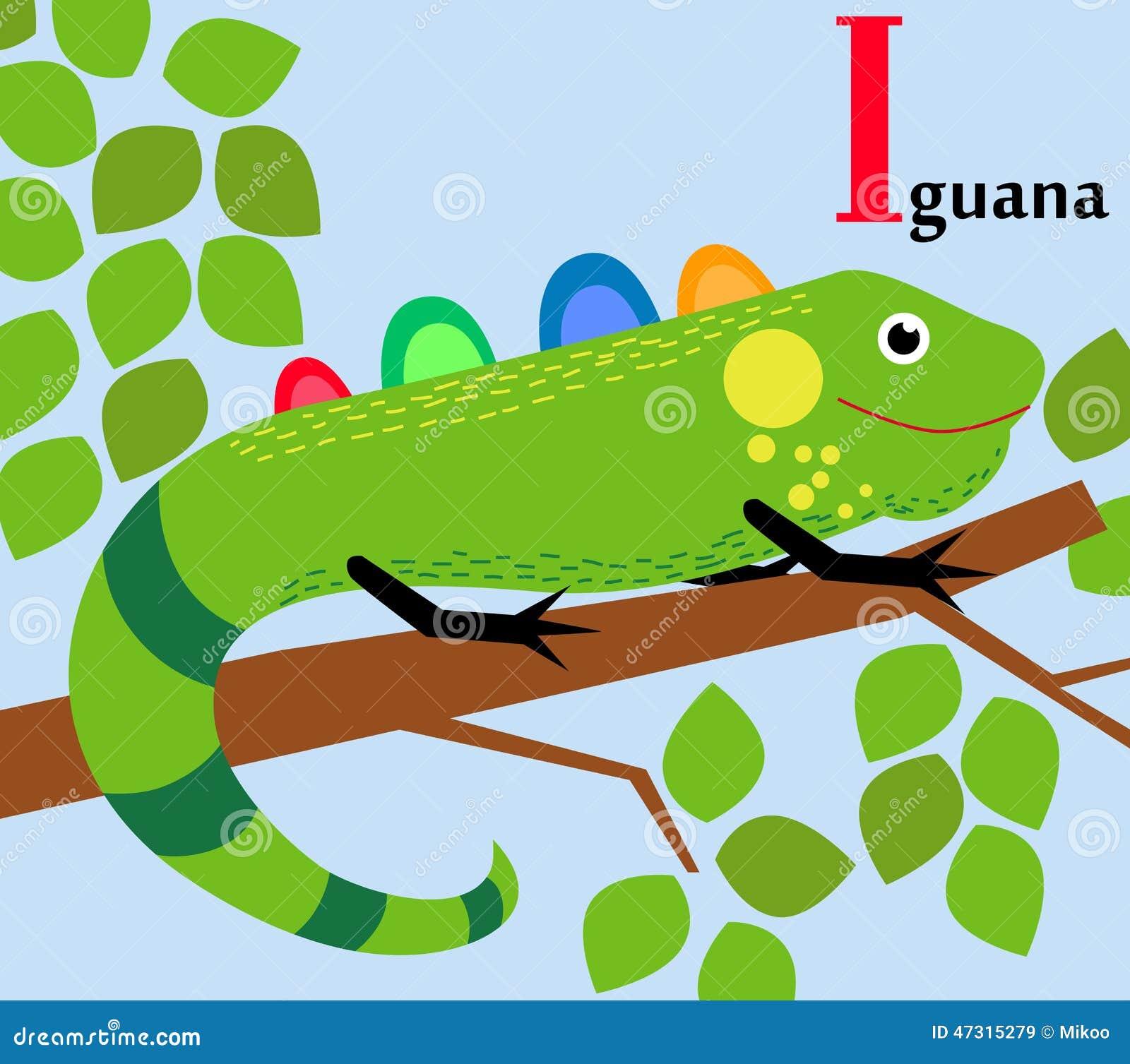 Animal Alphabet For The Kids I For The Iguana Stock